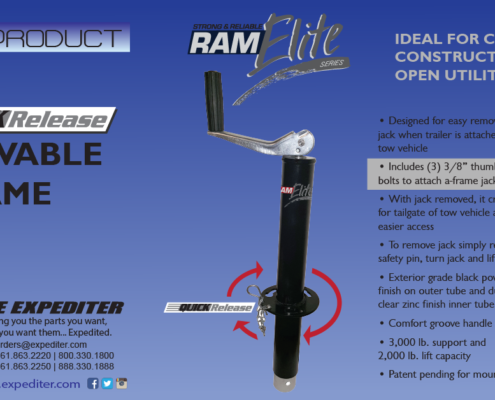 RAM Elite Jack - The Expediter, trailerparts, west palm beach, riviera beach, south florida, hitches, electrical, trailers, jacks, locks, brakes, assemblies, hubs, drums, axles, couplers, suspensions, tires, wheels, actuators, lights, winches, towing accessories, boat trailer parts, cargo control , switches, wholesale, dexter, fulton, RAM, bulldog, tiedown, expediter, trailerpro